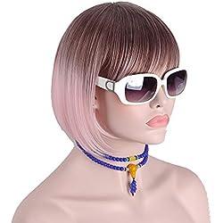 DER Pelucas Cortas for Mujer Colorido Marrón Oscuro Rosa Claro Pelos no Humanos Pelucas de Cosplay sintético Pelucas (Stretched Length : 14inches)