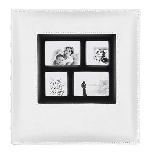 x 6 600 Fotos, extra große Kapazität, Ledereinband, Hochzeit, Familie, Fotoalben für 600 Fotos im Querformat und Hochformat mit schwarzen Seiten (Schwarz) 600 Pockets weiß ()