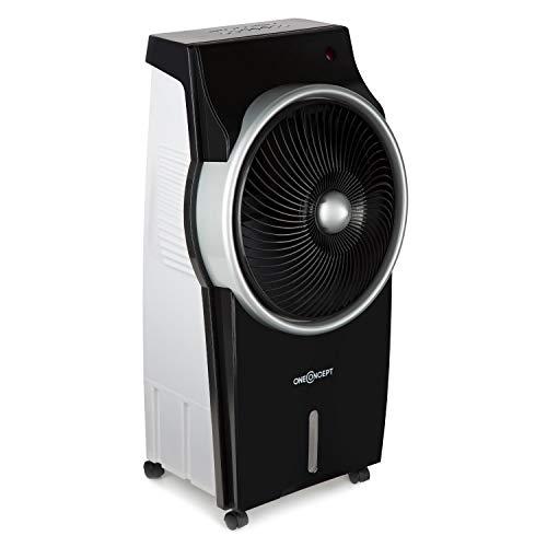 oneConcept Kingcool • 3-in-1 Luftkühler • Summer Edition • mobiles Klimagerät • Ventilator und Ionisator • Oszillationsfunktion • Timer • 95 W • 3 Betriebsmodik • 890 m³ Luftstrom • schwarz-silber