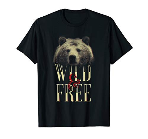 Grizzly bear brown art wild and free cute streetwear  T-Shirt
