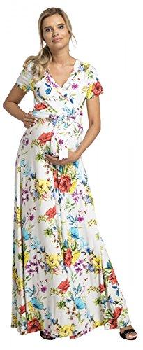 Happy Mama. Damen 2in1 Umstands Gerafften Stillkleid Maxikleid Kurz Ärmel.599p (Weiße Türkis Blumen, EU 40, L)