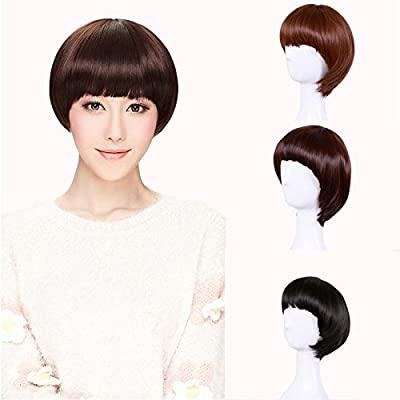 Hrph Fashion Sexy Women Wigs Straight Hair Ladies Girl Short Bob Neat Bangs Human Hair Natural Solid Color Wig by Hrph