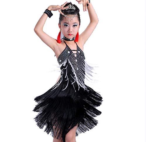 SMACB Wettbewerb Latin Dance Rock Kinder Tanzkleidung Tanzkostüm Wettbewerb Schwarz ()