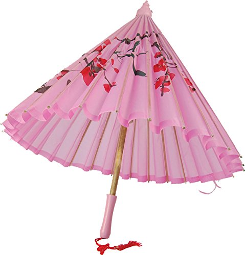 Adult Fancy Club Party Prop Accessory Silk Effect Oriental Parasol Pink Uk
