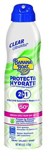 Banana Boat Sunscreen Ultra Mist Protect and Hydrate Moisturizing Broad Spectrum Sun Care Sunscreen Spray - SPF 50+, 6 Ounce by Banana Boat