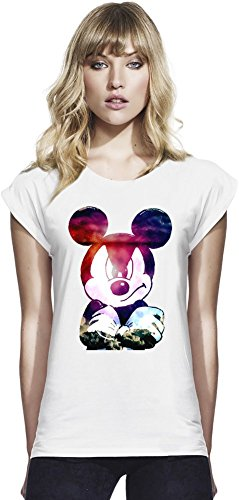 Galaxy Angry Mickey Mouse Womens Continental Rolled Sleeve T-Shirt Medium