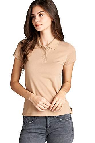 Khanomak Damen Poloshirt Classic Short Sleeve Pique - Beige - Klein -