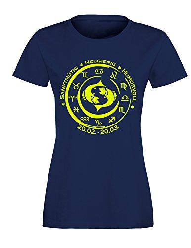 Sternzeichen Fische - Astrologie - Damen Rundhals T-Shirt Navy/Neongelb