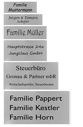 Plaque ID Boîte aux lettres avec gravure sur demande porte-nom Plaque de porte Acier inoxydable en 6tailles, argent