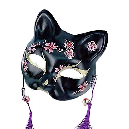 Japanische Kostüm Geschichte - Fox Maske, Fox Full Face Cosplay Maske, Half Face Fox Halloween Maske, Cat Face Fox Maske Für Aufführungen, Unterhaltung, Zeremonien, Geschichten, Tanz, Parade, Karneval, Tanz, Halloween, Maskerade