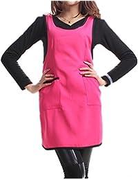TININNA Llanura Delantal Bolsillo Delantero para Carnicerias Cocineros  Cocina Cocinar Artesania Hornear Camarero Mujeres Niñas Red 2daa4512d4b