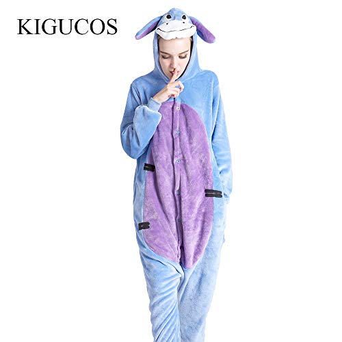 Jylw pigiama donna invernale donne one piece cartoon asino adulto inverno animale pigiama carino sleepwear lovely, s,