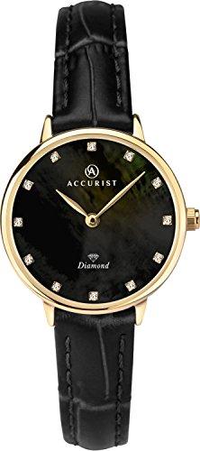 Accurist Femme montre à quartz analogique avec Noir Nacre de diamants Cadran et bracelet cuir noir 8211