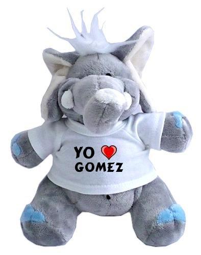 Elefante de peluche (juguete) con Amo Gomez en la camiseta (nombre de pila/apellido/apodo)