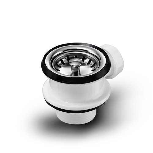 Universal Siebkorbventil 70 mm mit Anschluss für Überlauf und Siebkörbchen manuell / Ablauf / Abfluss / Ersatzteil / Spüle