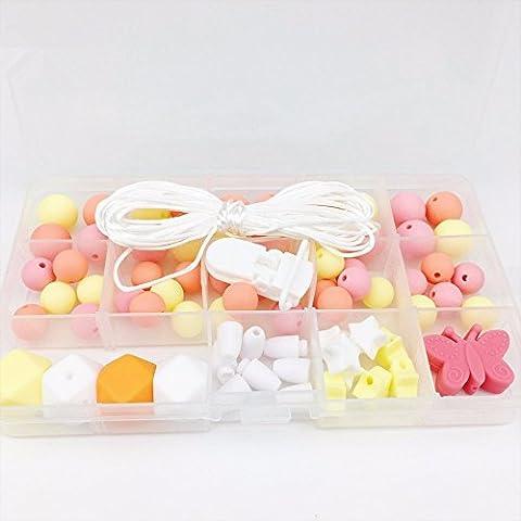 Mamimami Home Baby Teether DIY Schmuck Perlen Set Zahnen Halskette Zubehör Handgemacht Schnuller-Clips Baby Spielzeug Silikon Perlen