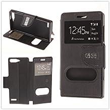 MISEMIYA - Funda Huawei Ascend G6 4G / Huawei Ascend G535 / Huawei Ascend P7 MINI / Orange Gova - Funda Solo, Libro Cruzada Con Soporte,Negro