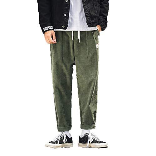 Notdark Herren Lange Cord Trainingshose Sport Jogging Hose Sweatpants mit Reißverschlusstasche (XL,Armeegrün) -