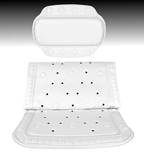 MamboCat Badewannen-Set Kreta, Badewanneneinlage 92 x 36 cm + Nackenkissen 32 x 23 cm, weiß, Rutschfest, mit Lochung für optimalen Wasserabfluss, mit Aufhängung, Badezimmer-Design