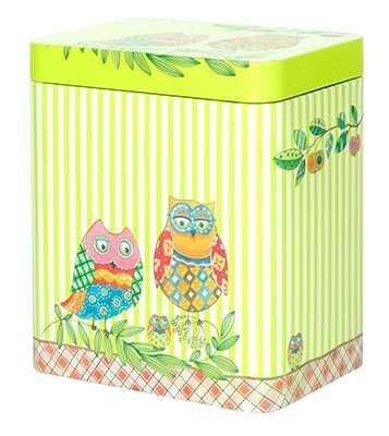 Nostalgie boîte thé pâtisserie, boîte chouette (vert rayé)