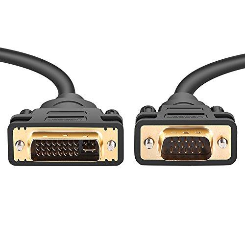 15 Pin Monitor-stecker (UGREEN DVI auf VGA Kabel 1.5m DVI-I 24+5 Stecker auf 15 Pin VGA Stecker Adapterkabel mit Vergoldete Konverter Hochreine Kupferleiter, Unterstützung 1080P für Gaming , DVD , Laptop, HDTV und Beamer)