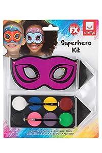 Smiffys 50779 Maquillaje FX, kit de superhéroe para niños, Aqua, Unisex Niños, Multicolor