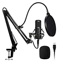 AADPLYA USB Microphone Kit 192KHZ/24BIT Plug & Play Condenser Computer Cardioid Mic with Professional Sound Chip Set Ideal for Podcast, Gaming, Recording, Stream, Voice Over