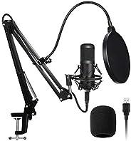 AADPLYA USB Microphone Kit 192KHZ/24BIT Plug & Play Condenser Computer Cardioid Mic with Professional Soun
