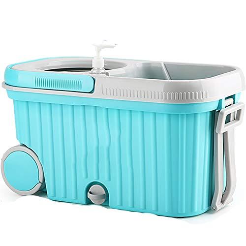 Axdwfd mocio rotante pressione della mano asciugatura automatica bagnato e secco secchio di scopa, cestino di metallo 4 teste di mop (colore : blu)