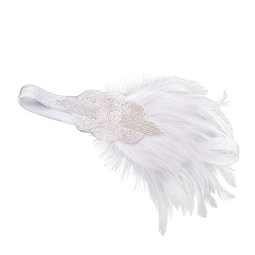 Gazechimp Weiß Feder Haarband Hochzeit Kopfband Gatsby 1920er Kostüm