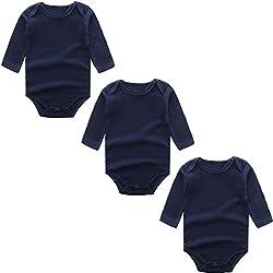 BINIDUCKLING Body para Bebé Niña Ropa Interior Pack de 3 Armada 24 Meses