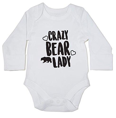 hippowarehouse-oso-de-crazy-lady-body-para-bebe-manga-larga-ninos-ninas-blanco-blanco-recien-nacido