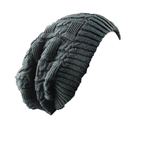 Fleece-schwergewicht Hat (Tefamore-Männer-Frauen-Doppel geschmückt Hanfblüten stricken Wolle Hut Heap Heap Warm (Dunklegrau))
