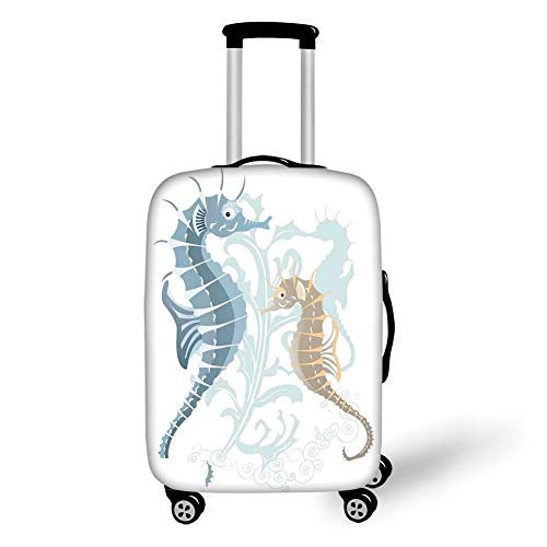 Travel Luggage Cover Suitcase Protector,Animal Decor,Pair of Little and Big Fishes in Soft Tones Featured Design Tropical Creatures,Blue Cream,for Travel XL -