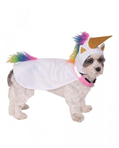 Horror-Shop Light up Einhorn Hunde-Kostüm mit leuchtendem Hunde-Halsband S (Dunklen Hund Halloween-kostüm)