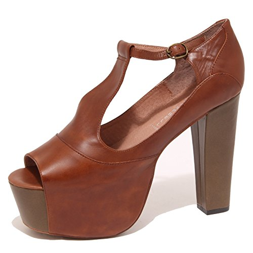 6821P sandalo JEFFREY CAMPBELL FOXY WOOD scarpa donna shoe women Marrone