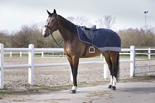 Equithème Nierendecke Regenausreitdecke sicherer Regenschutz | schützt Ihr Pferd bei Wind und Wetter (165, schwarz-blau)