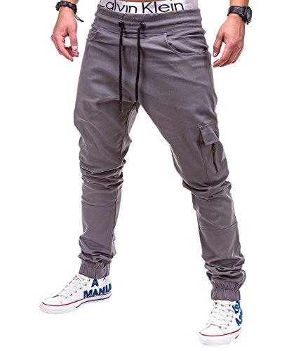 Betterstylz MasonBZ Cargo Chino Zip Jogger Pantaloni Uomo Style Jogger Pant diff. colori (S-XXL) (Medium, Grigio)
