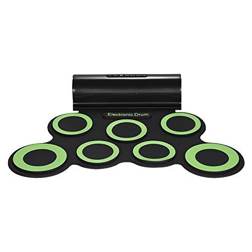 Neues Instrument Elektronische Trommel-Trommel-Ausrüstung Stereo-USB 7 Silikon-Trommel geeignet für Anfänger, Musikliebhaber, Trommelübungen (Farbe: Schwarz + Weiß , Schwarz + Grün , Optional Outdoor-