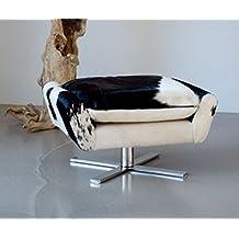 Cómodo reposapiés (piel de vaca, auxiliar taburete, asiento taburete, con cojín, pie de acero inoxidable macizo. Peso 17kg. Imagen en (Real de vaca) Negro de color blanco.