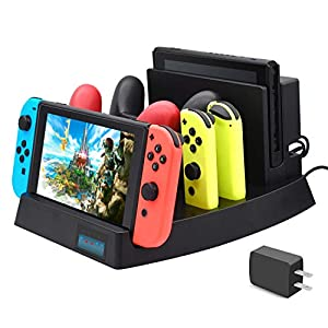 FYOUNG Ladestation für Nintendo Switch, Ladestation für Nintendo Switch Konsole, Switch Pro Controller und Joy-Cons mit…