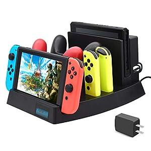 Upgrade 2019 Ladestation für Nintendo Switch, FYOUNG Ladestation für Nintendo Switch Console, Switch Pro Controller und Joy-Cons mit 1 USB-Typ-C-Kabel, 1 Gleichstromkabel und AC-Adapter
