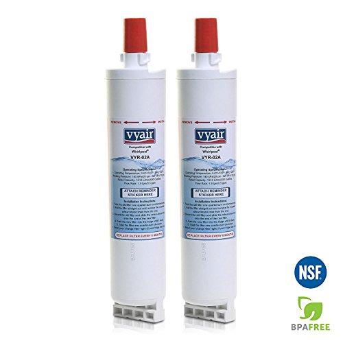 2 x VYAIR VYR-02A Eis & Wasser Kühlschrank Filter passend für Whirlpool 4396508, 4396508P, 4396509P, 4392857, SBS001, SBS002, SBS003, SBS004, SBS005, S20BRS, 481281729632, 481281728986, 461950271171, 481281718406, 04609902000, EDR5RXD1, USC009, - Whirlpool Eis-wasser-filter