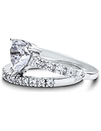 BERRICLE Rhodium Plated Sterling Silver Heart Shaped Cubic Zirconia CZ Solitaire Engagement Ring Set