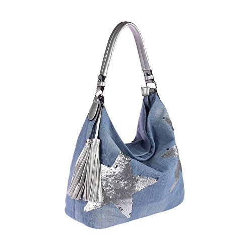 OBC design italiano XXL donna Stella Borsetta Tela Cotone In strass Oro-argento Bowling Borsa marsupio Hobo-Bag Manico Shopper CrossOver - blu scuro 48x30x17 cm, ca 48x30x17 cm ( BxHxT ) jeans blu argento (paillettes)