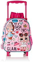 LOL Surprise Glam Daycare Backpack with Fixed Trolley Wheels, Pink