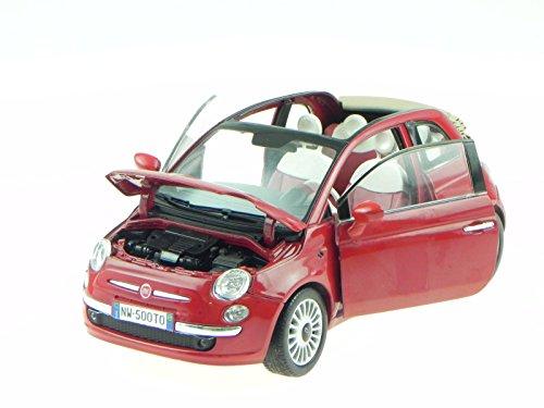 Fiat 500 Cabrio 500C rot Modellauto 79164 Motormax 1:18
