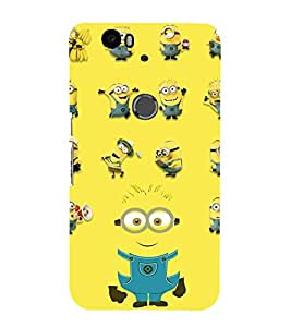 printtech Funny Yellow Cartoon Design Back Case Cover for Huawei Google Nexus 6P