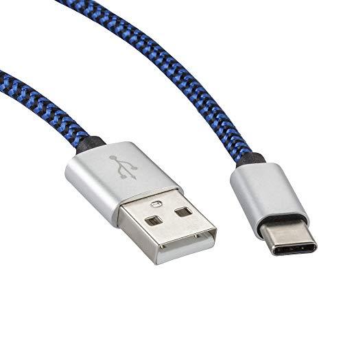 rocabo 1459 2m USB-C auf USB-A Kabel – Handy-Ladekabel – Datenkabel – Synchronisation-Kabel – Nylonmantel – für Smartphones, Handy, E-Reader, MP3-Player und viele mehr - blau