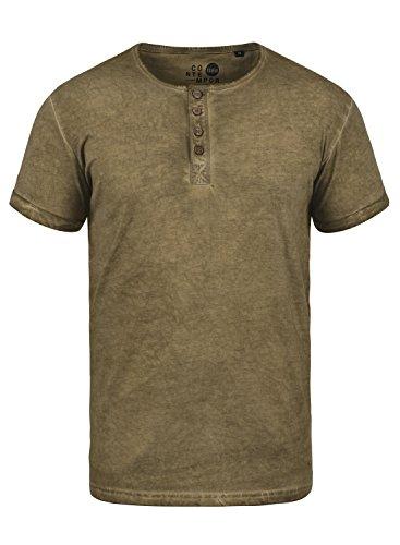 !Solid Tihn Herren T-Shirt Kurzarm Shirt mit Grandad-Ausschnitt Aus 100% Baumwolle, Größe:XL, Farbe:Ermine (5944) (Grün Herbst Shirt)